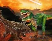 Пазл Сражение динозавров