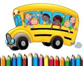Раскраска: Школьный автобус