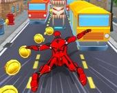 Робот-супергерой - бег в тоннеле