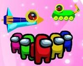 Амонг Ас в цветном космосе: вытяни булавку