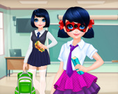 Девушка в крапинку возвращается в школу