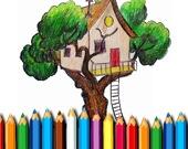 Раскраска: Дом на дереве