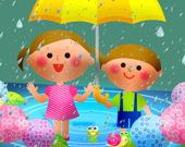 Дети под дождем - Пазл