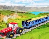 Гусеничный трактор тянет поезд