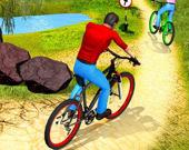 Велосипедист по бездорожью в гору
