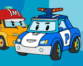 Полицейские робот-машины - Раскраска