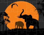 Силуэт слона: Паззл