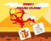 Раскраска: Дружелюбные драконы