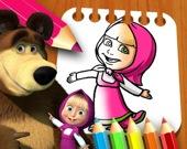 Маша и медведь - Раскраска