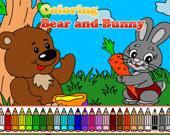 Медведь и Зайчик: Раскраска