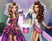 Куклы на подиуме в свадебных нарядах