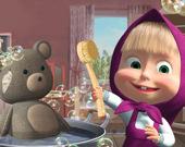 Кукла и медведь убирают дом