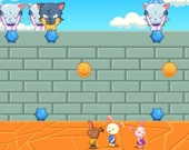 Кролики бегают от шаров
