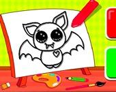 Летучая мышь - раскраска для детей