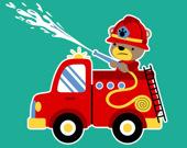 Пожарные машины с животными. 3 в ряд
