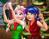 Рождественское селфи Леди Баг и Эльзы