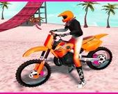 Пляжный мотокросс с трюковыми прыжками на мотоциклах