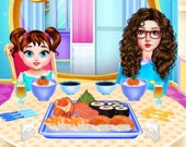 Малышка Тейлор готовит суши