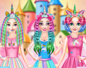 Принцессы: Причёски в стиле радужного единорога