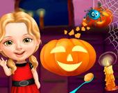 Милая девочка Веселье в Хэллоуин